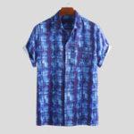 New Mens Summer Plaid Printing Breathable Hawaiian Shirts