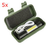 New 5pcs XANES 1518 XPE+COB 2Lights 1000Lumens 3Modes USB Rechargeable Brightness EDC LED Flashlight Suit