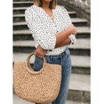 New Women Casual Polka Dot Print V-neck Button 3/4 Sleeve Blouse