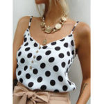 New Women Sleeveless Polka Dot Print Lace Stitching Tank Tops