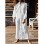 New Women Casual V Neck Button Striped Long Sleeve Shirt Dress