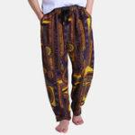 New Mens Ethnic Printed Loose Elastic Waist Casual Harem Pants