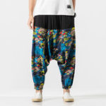 New Mens Chinese Style Animal Printed Linen Pants