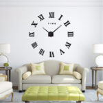 New Modern Design DIY Large Decorative 3D Wall Clock Reloj Pared Adhesivo Roman Numerals Mirror Big Clocks Stickers Watches