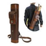 New Traditional Three-point Back-Style Quiver Leather Arrow Bow Hunting Pouch Belt Bag Container