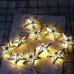New 1.65M Battery Powered 10PCS Star Shape Eid Ramadan LED String Light Indoor Home Party Decor