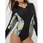 New One-Piece Print Zipper Long-Sleeved Swimwear