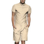 New Men Solid Color Cargo Romper Shorts