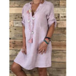 New Women Casual Adjustable Sleeve V-neck Loose Dress