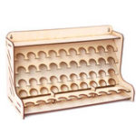 New 50 Pots Wooden Paint Rack Laser Cutting Modular Painting Holder Pigment Bottle Brush Tool Storage Holes DIY Decor