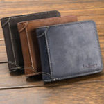 New Baellerry Men Multi-Card Short Wallet Matte Leather Wallet