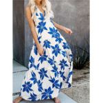 New Elegant Women Sleeveless Floral Print Back Cross Maxi Dress