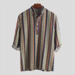 New Men Ethnic Pattern Printed Half Sleeve Henley Shirts