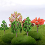 New 25Pcs/Lot 5cm Sand Table Model Micro Garden Landscape Wire Tree Color Mixing Decorations