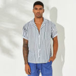 New Men Vertical Stripe Short Sleeve Relaxed Revere Shirts