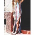 New Women Sleeveless O-neck Floral Print High Split Maxi Dress