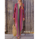 New Women Casual Loose V-neck Striped Long Split Maxi Dress