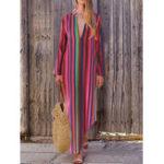 New Women Casual Loose V-neck Striped Long Split Maxi Dress