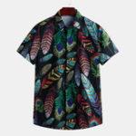 New Mens Summer Hawaiian Casual Fashion Leaf Printing Shirts