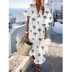 New Bohemian Women Short Sleeve V Neck Floral Print Maxi Dress