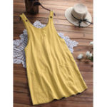 New Women Sleeveless Pocket Solid Color A Line Dress