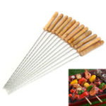 New 12X Stainless Steel Metal Barbeque Skewer Needle BBQ Kebab Stick Utensil 30cm BBQ Stick Fork