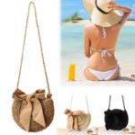 New  Women Straw Bag Retro Handbag Rattan Woven Summer Beach Shoulder Messenger Bag Tote Outdoor Travel