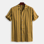 New Men Cotton Thick Stripe Button Down Short Sleeve Shirts