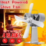 New 4 Small Blades Heat Powered Wood Stove Fan for Log Wood Burner Fireplace Eco Fan