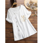 New Women Round Neck Embroidered Button Short Sleeved T-shirts