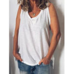 New Women Sleeveless V Neck Solid Tank Tops