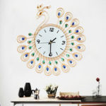 New Large 3D Gold Diamond Peacock Wall Clock Metal Watch For Home Living Room Decoration DIY Clocks Crafts Ornaments Gift 53x53cm