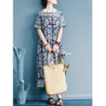 New Women Short Sleeve O-neck Loose Vintage Maxi Dress