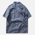 New Men Multi Pockets Solid Color Short Sleeve Revere Shirts