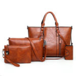 New 4 PCS Women Casual Minimalist Handbag Shoulder Bag