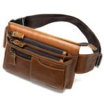 New MVA Men Genuine Leather Zipper Casual Waist Bag