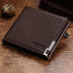 New GZCZ Men Genuine Leather Card Holder Casual Short Wallet