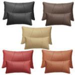 New Car Headrest Lumbar Waist Seat Pillow PU Leather Travel Soft