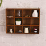 New 12 Grids Hanging Wooden Wall Shelf Box Display Rack Shelf Storage Home Decorations