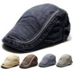 New Mens Cotton Berets Caps Embroidery Painter Casual Outdoor Visor Forward Hat