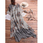 New Vintage Floral Print O-neck Layered Short Sleeve Dress