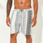 New Men Ethnic Pattern Print Drawstring Beach Relaxed Shorts