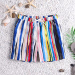 New Men Colorful Stripe Quick Drying Beach Hawaiian Board Shorts