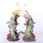 New 16.5×12.5x42cm Peacock Statue Resin Decorations Sculpture Home Study Room Desktop Gift