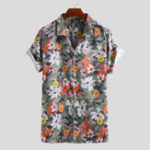 New Men Floral Print Short Sleeve Relaxed Hawaiian Shirts