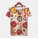 New Mens Summer Ethnic Style Printed V Neck Casual Shirts