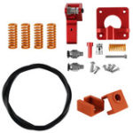 New Upgraded Aluminum Dual Gear Pulley Dual Driver Extruder + 4x Leveling Spring + 2x MK9 Silicone Cover + 1M PTFE Tube Kit For Creality CR-10 / CR-10S / CR-10S Pro / Ender-3 / Ender-3 Pro 3D Printer