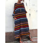 New Casual Stripe Crew Neck Maxi Dress