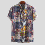 New Mens Vintage Splicing Summer Loose Printing Henley Shirts