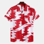 New Mens Abstract Printed Contrast Color Loose Fashion Shirts
